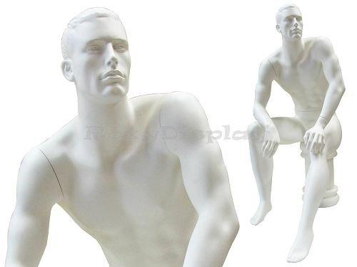 (MD-KW12W) ROXY DISPLAY Male mannequin. Fiberglass construction, Sitting pose.