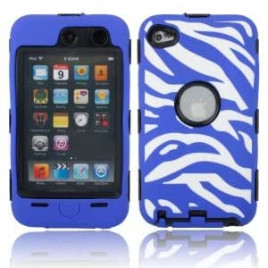 Zebra Pattern Silicone & Plastic Case for iPod Touch 3/4 Black Background Dark Blue