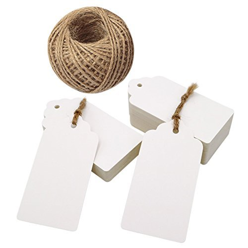 Valentine's Day Gift Tags,100 PCS Kraft Paper Tags,White Rectangle Kraft Hang Tags,Price Tags with 100 Feet Jute Twine