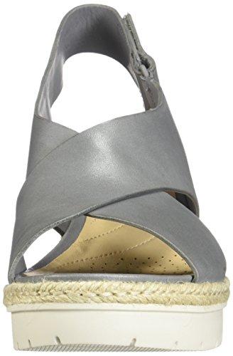 Clarks Womens Palm Glow Wedge Sandalo In Pelle Grigia