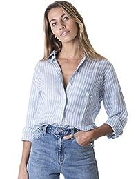 CAMIXA Women's Crushed Linen Casual Button-Down Shirt Start from The Basic