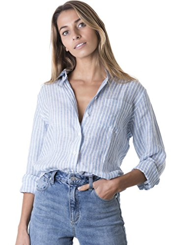 CAMIXA Women's 100% Linen Casual Shirt Slim Fit Button-Down Airy Basic Blouse XXL Chambray 100% Designer Cotton Fabric