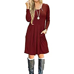 AUSELILY Women's Long Sleeve Pleated Loose Swing Casual Dress with Pockets Knee Length (L, Wine Red)