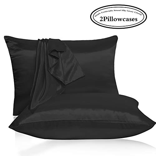 Leccod 2 Pack Slip Shinny Silk Pillowcase with Hidden Zipper, Super Soft and Luxury Satin Pillow Cases Covers for Hair and Skin (Black, Standard : 20x26)