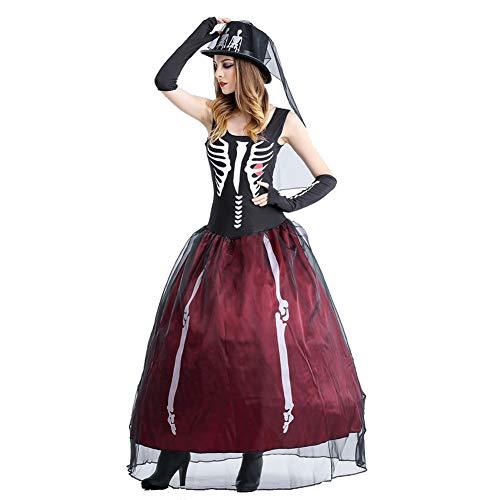 Mono Fiesta Traje Mascarada Disfraces Sexy Halloween Mujer Novia Vestido Carnaval Esqueleto zgfqIqZA
