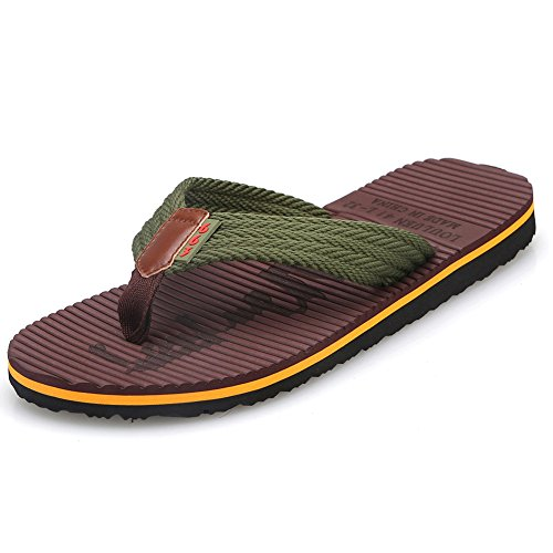 CIOR Men's Handmade Fashion Beach Slipper Indoor and Outdoor Classical Flip-flop Thong Sandals,SL3802,Brown,47 (Classic Rubber Thong)