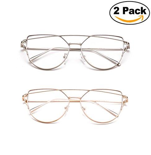 Newbee Fashion - Oversized Fashion Clear Glasses Transparent Lenses Stylish Aviator Bar - Aviator Fake Glasses Clear