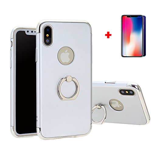 iPhone X case, HD Screen Protector Tempered Glass Film Kit, Hard PC Back Cover with Ring Holder for Apple iPhone 10, Shock-Absorption and Anti-Scratch(silver iphone X)