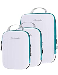 Packing Cubes for Travelling, Ultralight Packing Compression Bags for Carryon Luggage, Water-resistant Packing Cube Set 3pcs for Backpack Travel No Vacuum, Travel Packing Organizers Clear, Marrs Green