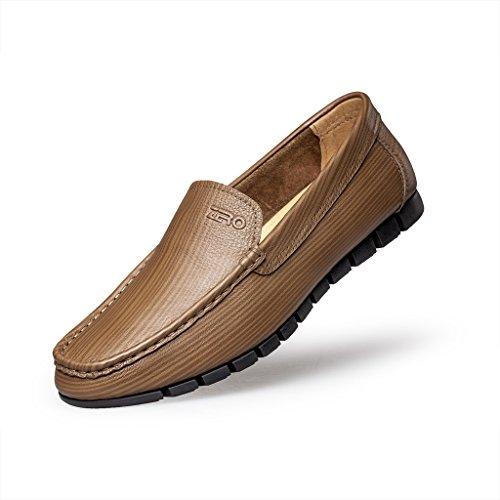 Zro Hombres Slip On Moc Toe Flat Loafer Moda Casual Zapatos Khaki