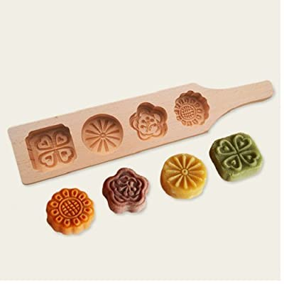 Astra shop Mini Wooden Chinese Mid-autumn Festival Mooncake Mold Making 4 Traditional Flower Shape Moon Cakes