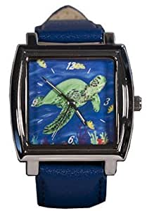 Sea Turtle Watch - Long Band, Fits 9 Inch Wrist - Support Wildlife Conservation, Read How - From My Original Painting, Wisdom