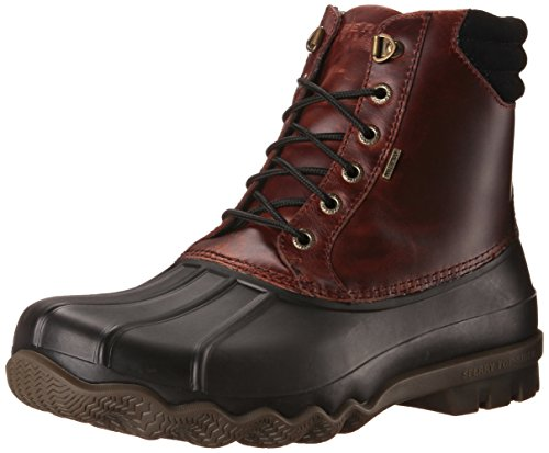 (SPERRY Men's Avenue Duck Rain Boot, Black/Amaretto, 10.5 D(M) US)