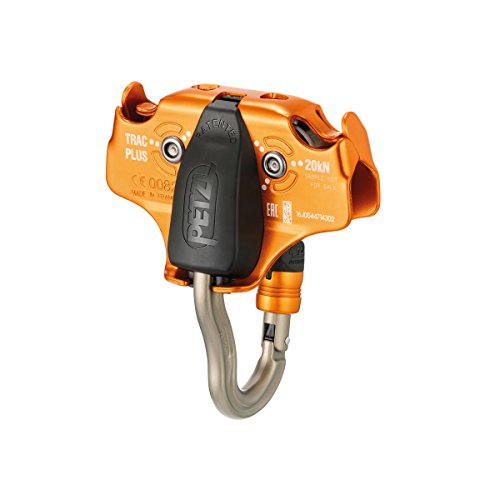 PETZL TRAC Plus Professional Zipline Pulley with Carabiner Bridge