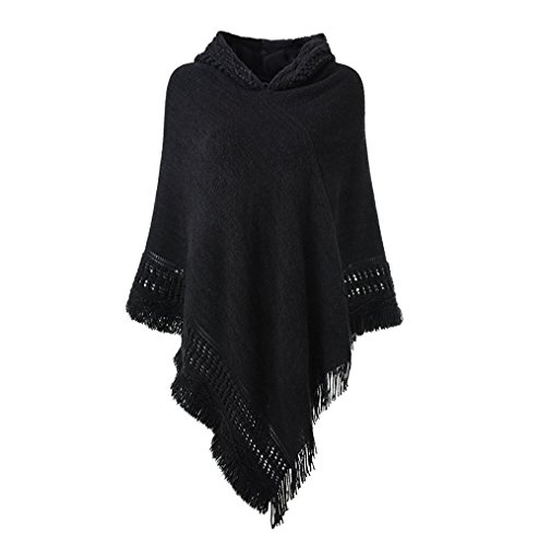 Poncho Top Wrap (Sefilko Womens Knitted Hooded Poncho Tops Shawl Cape Batwing Blouse With Fringed Sides For Lady (Black))
