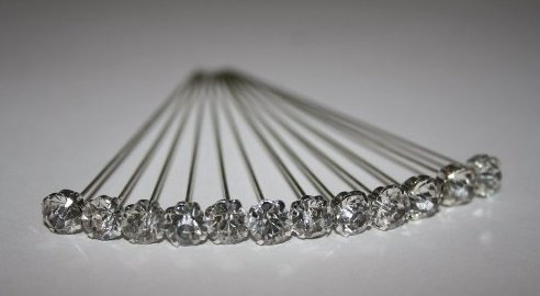 12 LUXURY 4mm x 4cm CLEAR DIAMOND diamante pins WEDDING FLOWERS