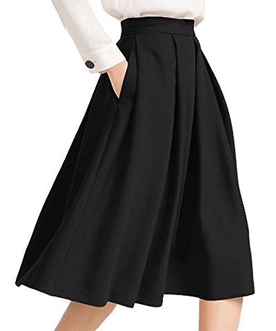 Yige Women's High Waisted A line Skirt Skater Pleated Full Midi Skirt Black US4 (Midi Skirt Black)