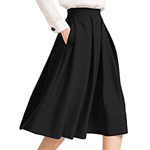 Yige Women's High Waist Flared Skirt Pleated Midi Skirt with Pocket 24