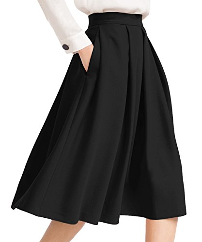 Yige Women's High Waisted A line Skirt Skater Pleated Full Midi Skirt Black - Drop Waist Pleats Skirt