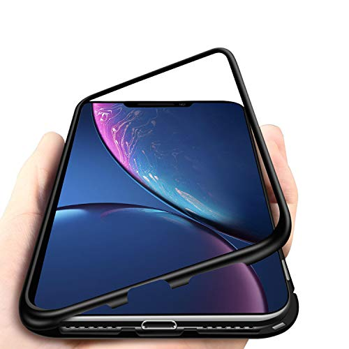(iPhone XR Case, MISSCASE Ultra Slim Magnet Protective Case with Metal Frame Tempered Glass Back [Magnetic Adsorption Technology] [Support Wireless Charging](Black Frame + Clear Back))