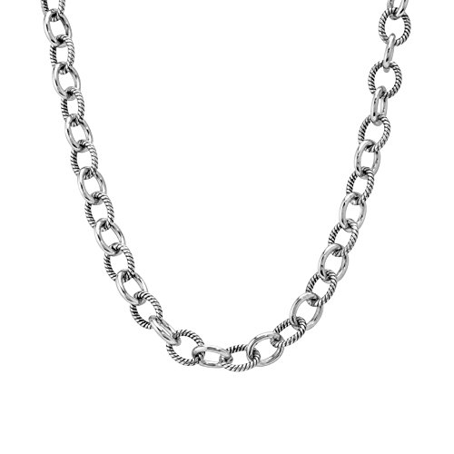 Carolyn Pollack Sterling Silver 20 Chain - Link Filigree Oval