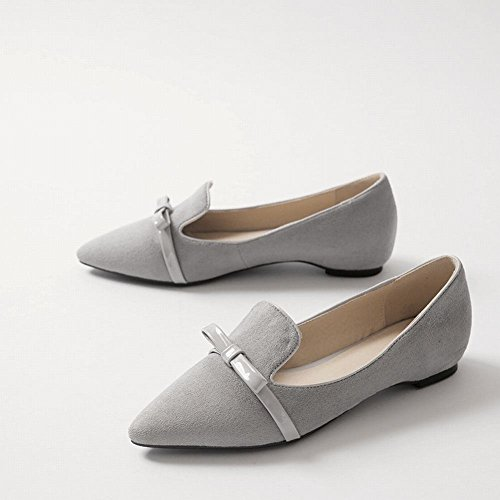 MissSaSa Damen elegant Chunky heel Pointed Toe Low-cut Nubuck Pumps/Slipper mit Schleife Grau