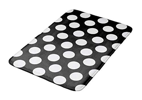 Aomsnet Black and White Large Polka dot Bathroom Decor Mat, Shower Rug Mat Water Absorbent Fast Drying Kitchen, Bedroom, Hotel, Spa Tub.30 L X 18