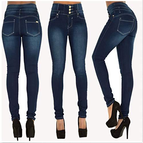 Jeans avec Haute Denim Indigo Taille Femme Skinny Pants Casual Pantalons JackenLOVE Longue Mode Bouton Crayon 7xPw6zq