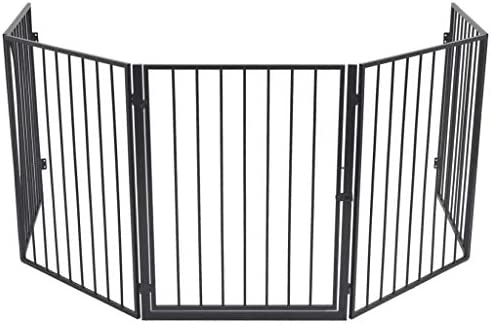 Ausla Steel Pet Fireplace Fence, Steel Grill Safety Pet Dog Cat Guard Fence Pet Safety Gate for Pet