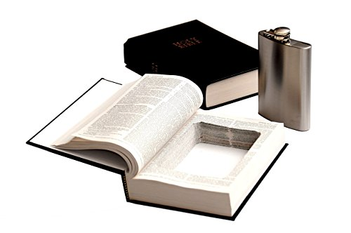 Bible Book Safe w/ 8oz Steel Flask - Genuine Bible