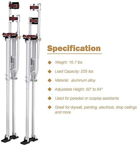Details about  /48-64 inches Aluminum Drywall Stilts Professional Grade Adjustable Tool Sliver