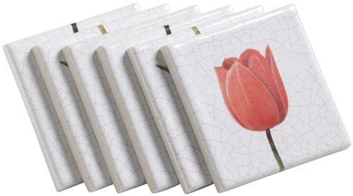 Kohler K-14200-TM-0 Fables & Flowers Decorative Field Tile, Soft Red Tulip Three-Tile Mural, White (Kohler Decorative Field Tile)