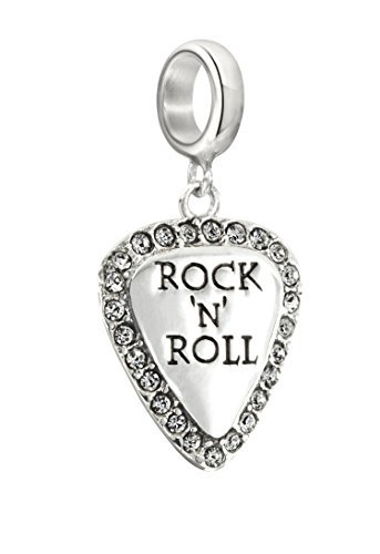 Authentic Chamilia Sterling Silver Charm Lil'Bit Rock N' Roll Guitar Pick with Swarovski 2025-1311 by ASIN