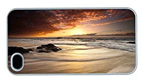 Hipster custom iPhone 4S cover beach waves sunset PC White for Apple iPhone 4/4S