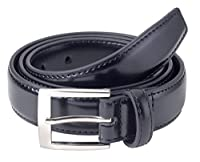 Sportoli™ Mens Classic Stitched Genuine Leather Uniform Belt - Black Brown White