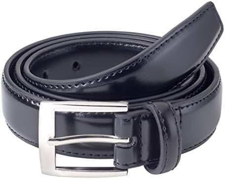 Sportoli Mens Classic Stitched Genuine Leather Uniform Belt - Black Brown White