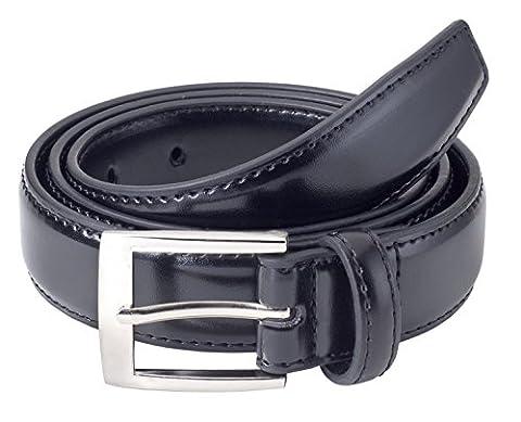 Sportoli Mens Classic Stitched Genuine Leather Uniform Belt - Black (34)