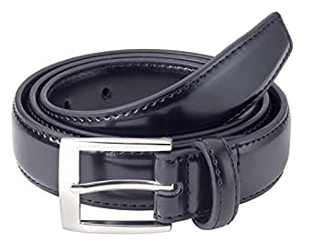 Sportoli Boys Classic Stitched Genuine Leather Uniform Belt - Black (28)