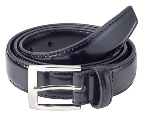 Sportoli8482; Mens Classic Stitched Genuine Leather Uniform Belt - Black - Size Waist Belt Size