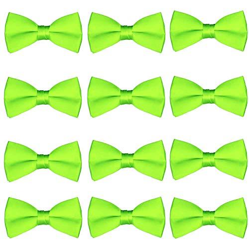 Men's Bow Tie Wholesale 12 Pack Pre-Tied Formal Tuxedo Bowties Wedding Solid Ties (Lime Green) ()
