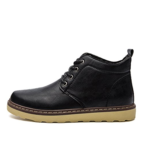 Combat BomKin Ankle Mens Fashion Bootie Black Winter Boots Leather Ygn1xW5cwg