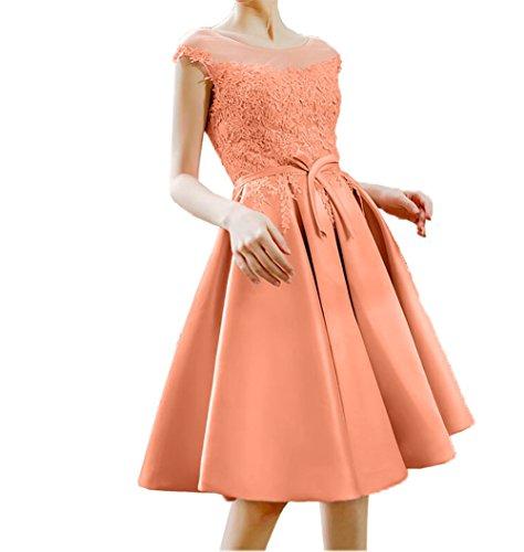 Abschlussballkleider Cocktailkleider La Kurz Partykleider mia 2018 Orange Abendkleider Neu Knielang Spitze Braut Satin 8zZq8fUw