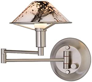 Holtkoetter 9426 SN MRB Lighting for The Aging Eye Halogen Swing-Arm Wall Sconce, Satin Nickel with Marble Glass