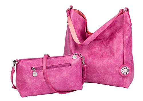 Sydney Love Reversible Hobo with inner pouch in Raspberry/Coral ()