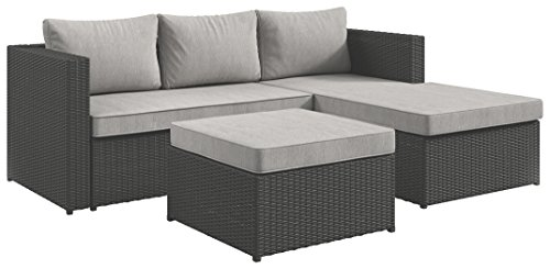 Ashley Furniture Signature Design - Pheasant Trail 3-Piece Outdoor Sectional - Loveseat, Chaise & Ottoman - Contemporary - Gray