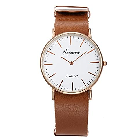 Geneva Women's Casual Business Style Buckle Clasp Quartz Wrist Watches with PU Leather Band-Brown (Brown Leather Geneva Watch)