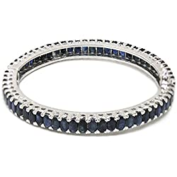 De Buman Sterling Silver Natural Sapphire Bangle Bracelet, 8.48''