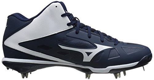 Mizuno Menns Heist Iq Midten Baseball Sko Navy / Hvit