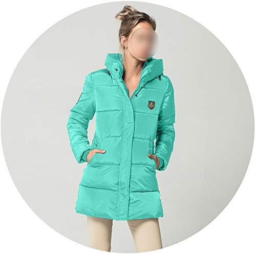 colorful-space Parkas - Chamarra de Invierno para Mujer (algodón cálido, con Capucha), Azul Lago, XXL