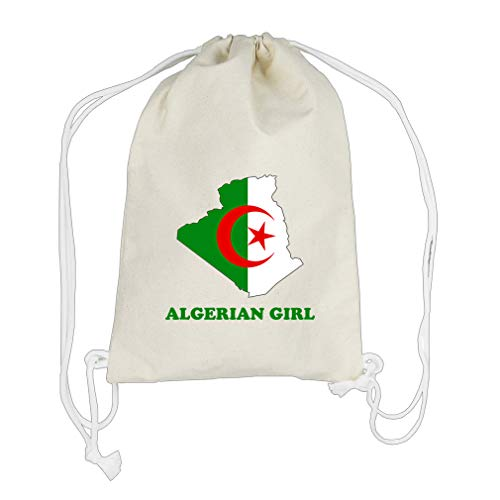 Algerian Girl Cotton Canvas Backpack Drawstring Bag Sack